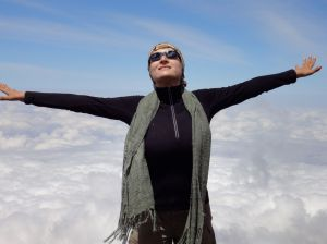 Me at the top of the Barranco Wall on my life changing climb of Mt Kilimanjaro.